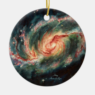 Barred Spiral Galaxy Double-Sided Ceramic Round Christmas Ornament