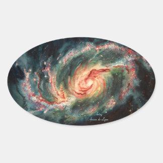 Barred Spiral Galaxy Oval Sticker