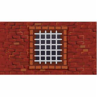 Barred Window in Brick Wall Cutout