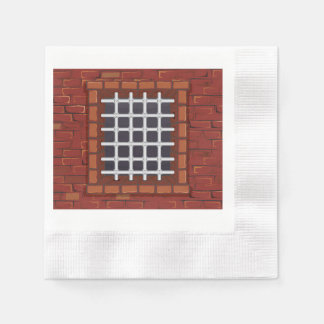 Barred Window in Brick Wall Coined Cocktail Napkin