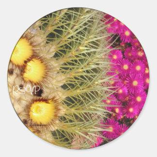 Barrel Cactus Blooms RSVP Wedding Seals Sticker Round Stickers