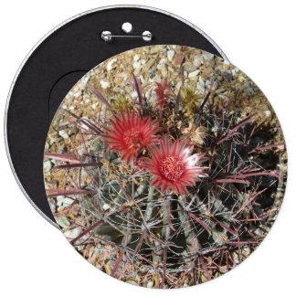 Barrel Cactus Fishhook Red Pinback Button