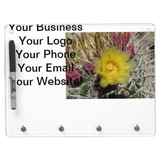 Barrel Cactus Fishhook Yellow Dry Erase Board With Keychain Holder