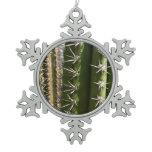Barrel Cactus II Desert Nature Photo Snowflake Pewter Christmas Ornament