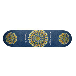 Barrel Cactus Mandala 1 on Blue Thorn Pattern Skateboard Deck