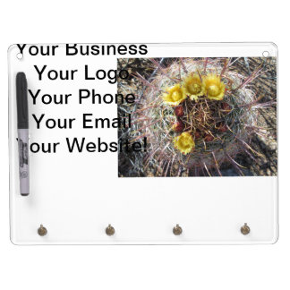 Barrel Cactus Plant Fishhook Yellow Dry Erase Board With Keychain Holder