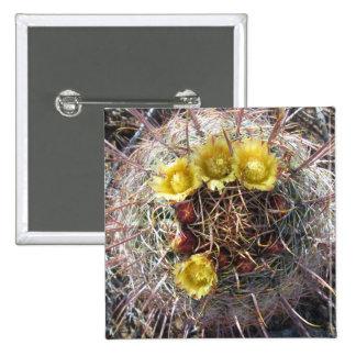 Barrel Cactus Plant Fishhook Yellow Pinback Button