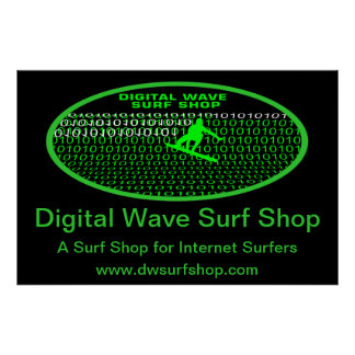 Barrel Digital Wave Shore Perspective Poster