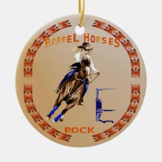 Barrel Horses Rock-Ornament