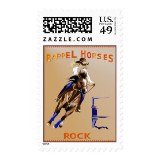 Barrel Horses Rock Postage