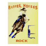 Barrel Horses Rock Poster