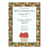 Barrel of Apples Apple Picking Pattern Party Invitation