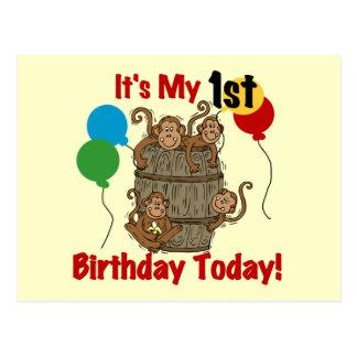 Barrel of Monkeys 1st Birthday Postcard