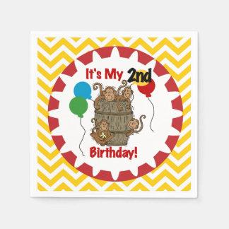Barrel of Monkeys 2nd Birthday Paper Napkins