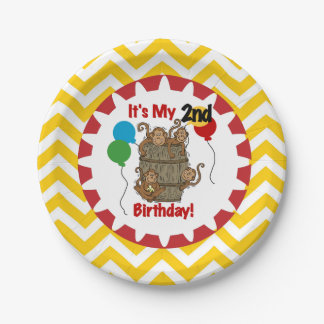 Barrel of Monkeys 2nd Birthday Paper Plates 7 Inch Paper Plate