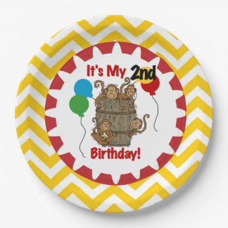 Barrel of Monkeys 2nd Birthday Paper Plates 9 Inch Paper Plate