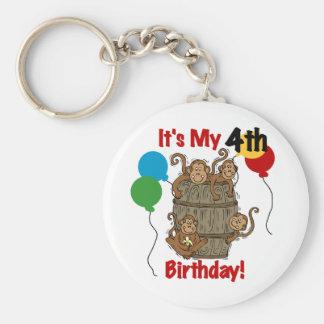 Barrel of Monkeys 4th Birthday Keychain