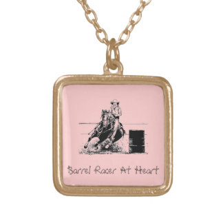 Barrel Racer At Heart Square Pendant Necklace