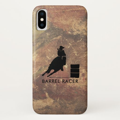 Barrel Racer Silhouette on Brown Grunge iPhone X Case