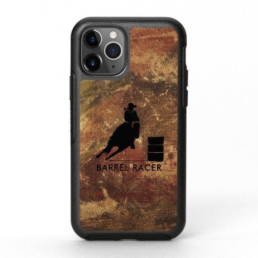 Barrel Racer Silhouette on Brown Grunge OtterBox Symmetry iPhone 11 Pro Case