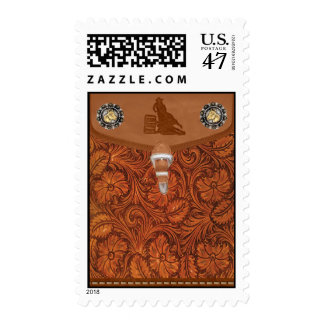 """Barrel Racer"" Tooled Leather Postage Stamps"