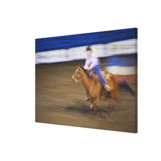 Barrel racing 2 stretched canvas print