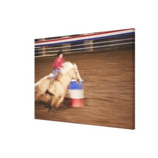 Barrel racing 2 canvas print