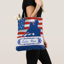 Barrel Racing American Flag Rodeo Mom or Your Text Tote Bag