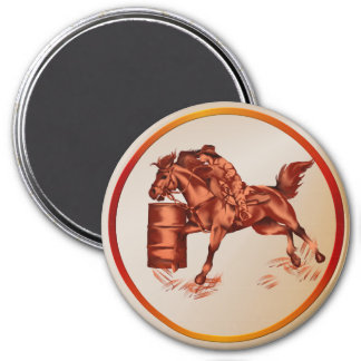 Barrel Racing -Button 3 Inch Round Magnet