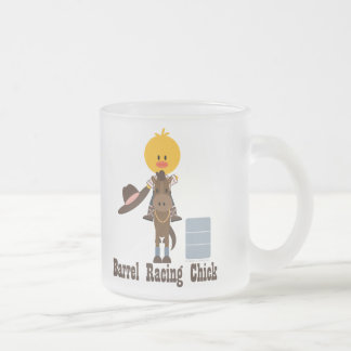 Barrel Racing Chick Frosted Glass Mug