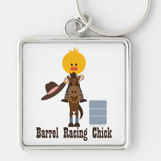 Barrel Racing Chick Keychain
