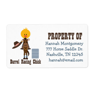 Barrel Racing Chick Personalized Labels