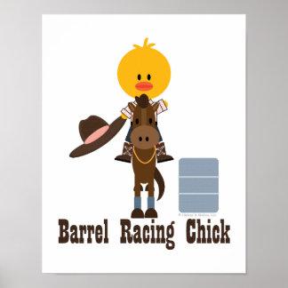 Barrel Racing Chick Poster Blue