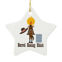 Barrel Racing Chick Star Ornament