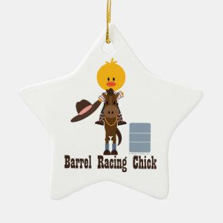 Barrel Racing Chick Star Ornament
