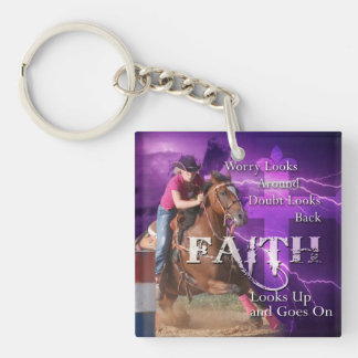 Barrel Racing Faith Keychain