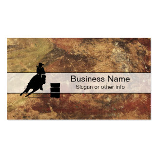 Barrel Racing Girl Silhouette on a Grunge Texture Business Card
