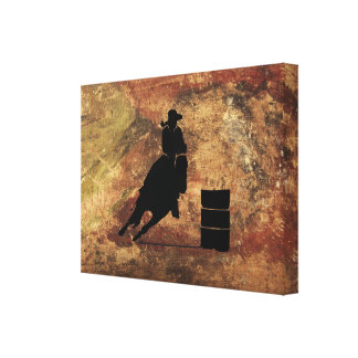 Barrel Racing Girl Silhouette on a Grunge Texture Canvas Print