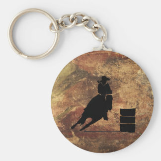 Barrel Racing Girl Silhouette on a Grunge Texture Keychain