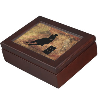 Barrel Racing Girl Silhouette on a Grunge Texture Memory Box