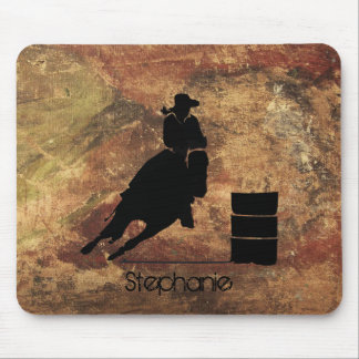 Barrel Racing Girl Silhouette on a Grunge Texture Mouse Pad