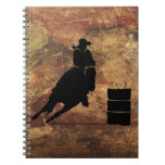 Barrel Racing Girl Silhouette on a Grunge Texture Spiral Note Book