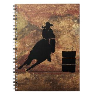 Barrel Racing Girl Silhouette on a Grunge Texture Notebook
