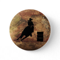 Barrel Racing Girl Silhouette on a Grunge Texture Pinback Button