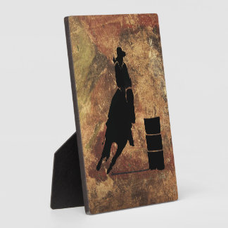 Barrel Racing Girl Silhouette on a Grunge Texture Plaque