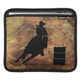 Barrel Racing Girl Silhouette on a Grunge Texture Sleeve For iPads