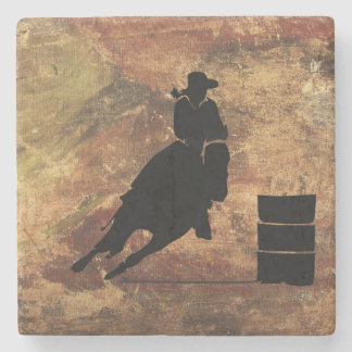 Barrel Racing Girl Silhouette on a Grunge Texture Stone Coaster