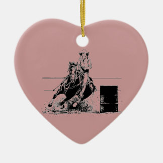 Barrel Racing Horse Double-Sided Heart Ceramic Christmas Ornament
