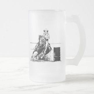 Barrel Racing Horse Frosted Glass Beer Mug