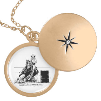 Barrel Racing Horse Locket Necklace